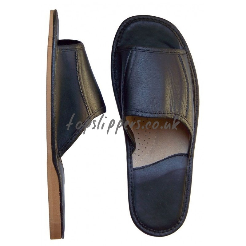 peep toe black leather house slippers mules for men