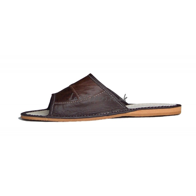 peep toe brown leather house slippers mules for men