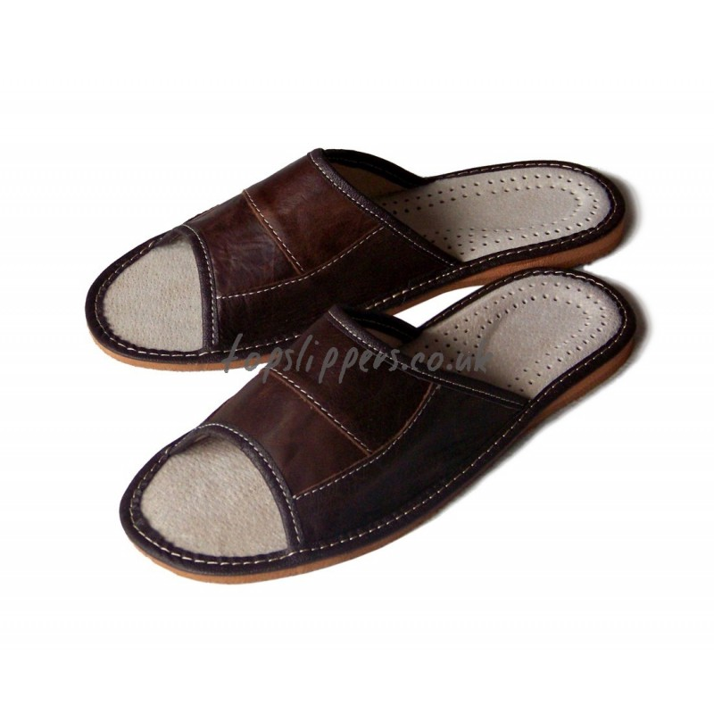 Peep Toe Brown Leather House Slippers Mules for Men No.333f