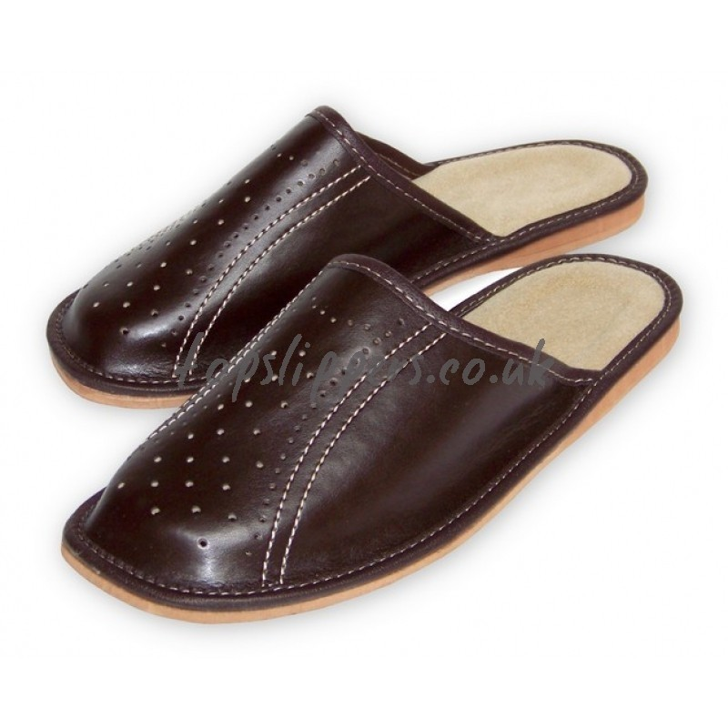 buy brown leather house slippers mules for men model