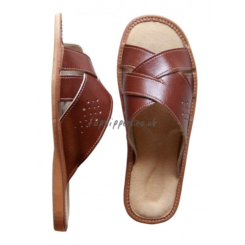 Mens Leather Open Toe House Slippers Car Interior Design