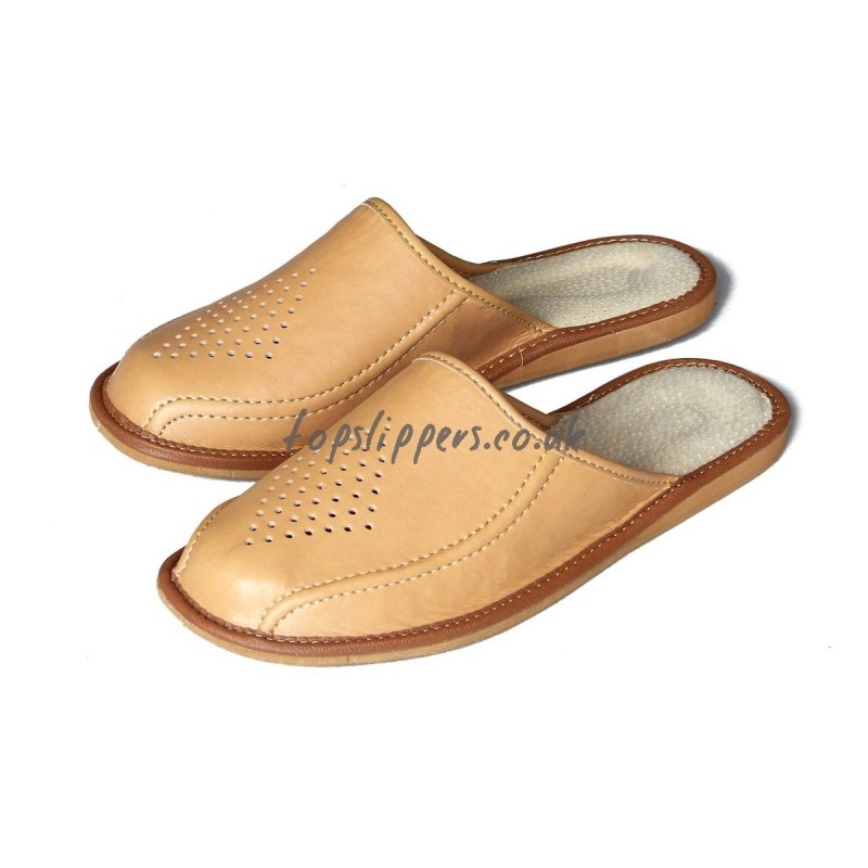 Buy tan leather house slippers mules for men - model No ...