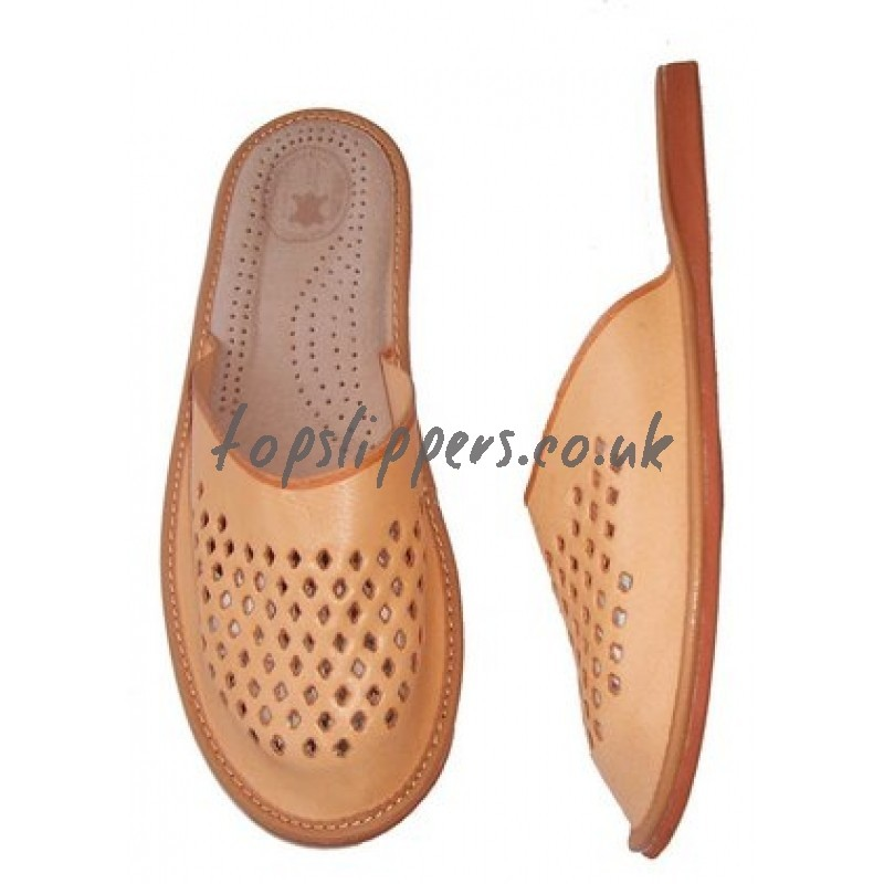 Buy Tan Leather House Slippers Mules For Men Model