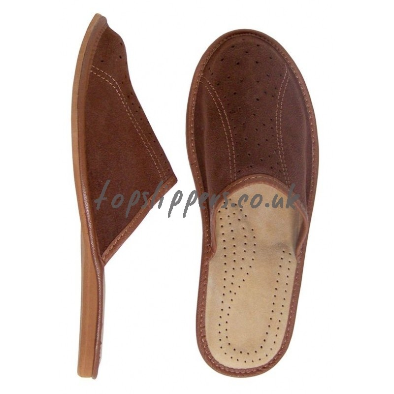 Buy velour leather house slippers mules for men - model No.310