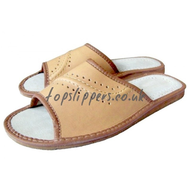 Peep Toe Tan Leather House Slippers Mules for Men No.309