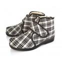 Mens Sheepskin and Felt Slippers Boots - Tartan / Plaid
