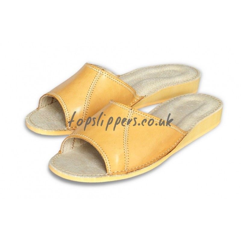buy peep toe leather house mule for