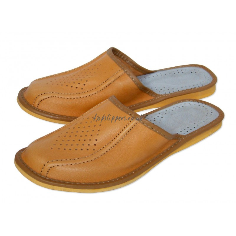 Buy tan leather house slippers mules for men - model No.314