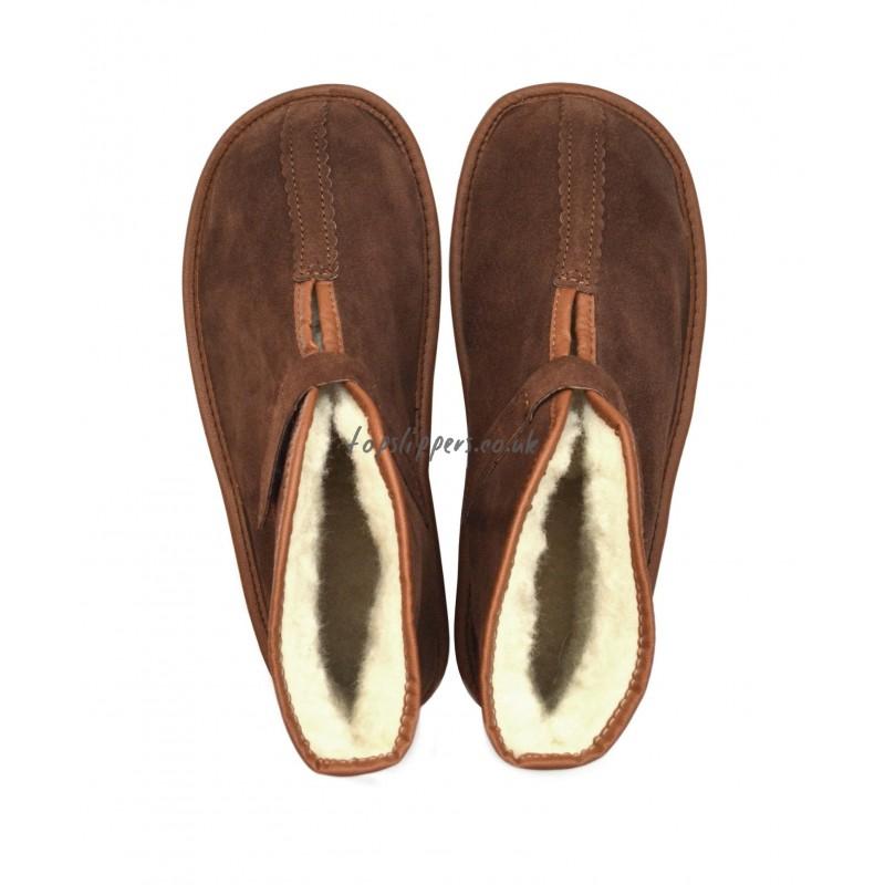 Unisex Sheepskin Velcro Slippers Boots