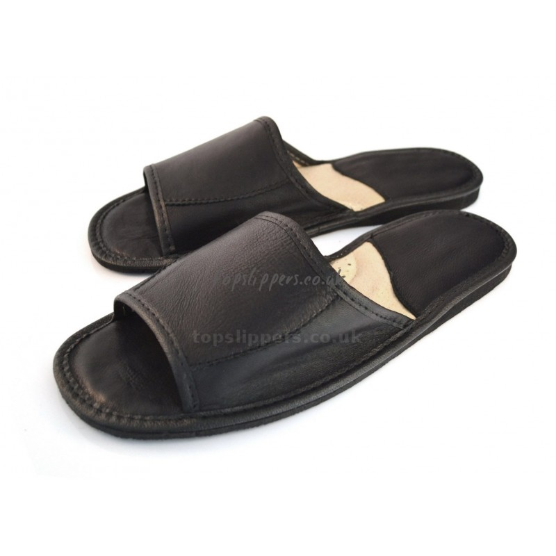 Peep Toe Black Leather House Slippers Mules for Men No.333bu