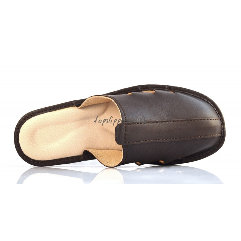 men real leather house slippers mules