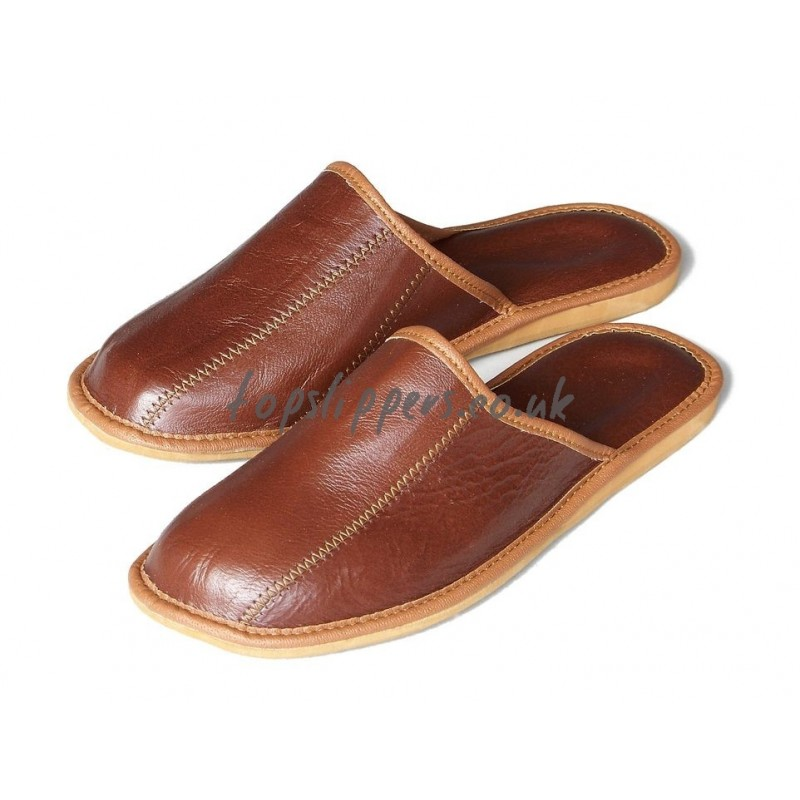 men brown leather house shoes slippers