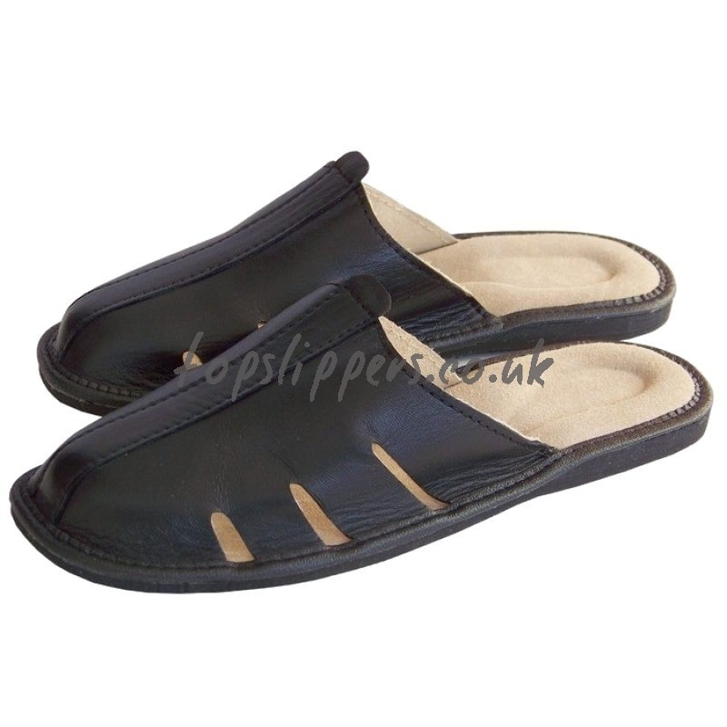 MEN > Real Leather House Slippers Mules