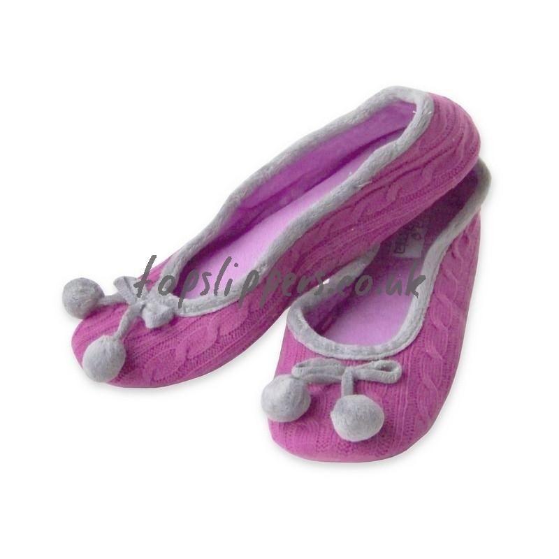 Buy Pom Pom Cable Knit Ballerina Slippers For Women