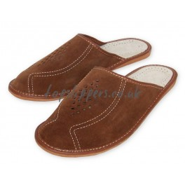 men brown leather big size xl house shoes slippers