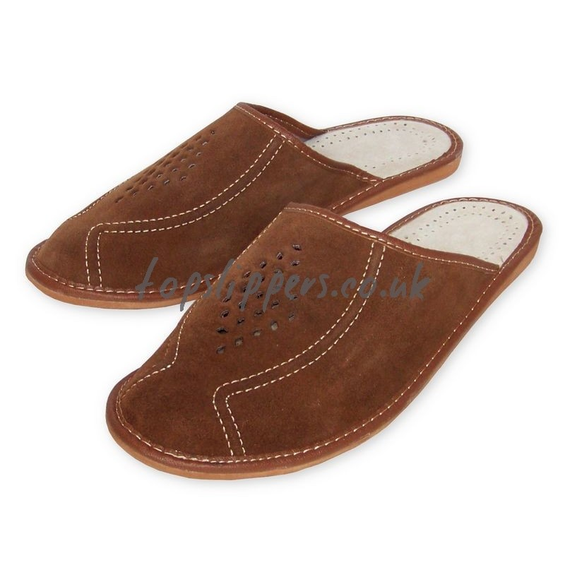 Buy big size xl large leather house slippers mules for men ...
